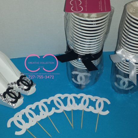 Parisian Inspired Drinking Cups/Cupcake Toppers