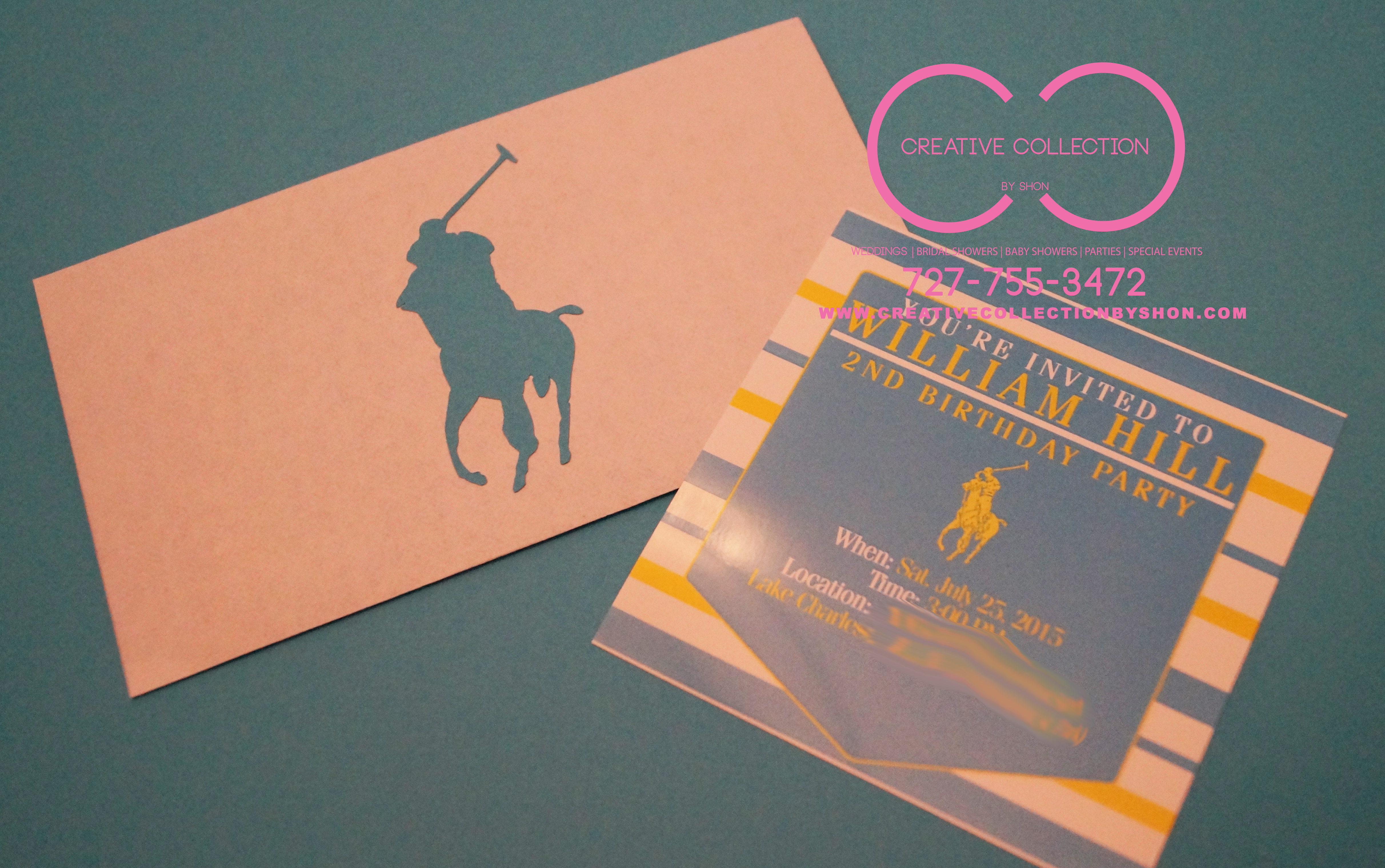 """ff7fbee0d120 Horsemen """"POLO"""" Theme Invitation Card With Envelope (sold in sets ..."""