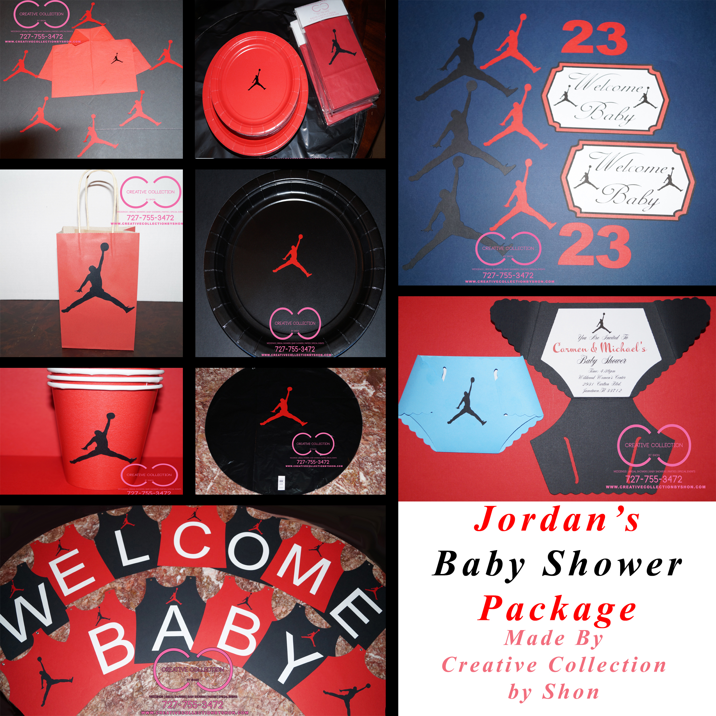 Jumpman Jordan Inspired Baby Shower Package Creative Collection