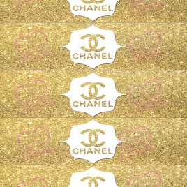 Parisian Glitter Water Bottle Labels 5 To A Sheet