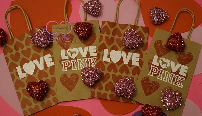 Love Pink Gift Bags White